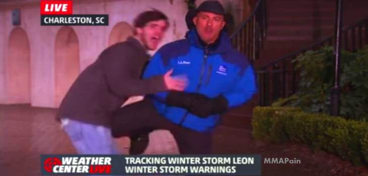 Jim Cantore knee to the nuts