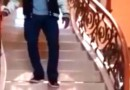 Anderson Silva walking down stairs