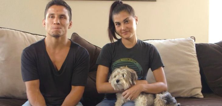 Joseph Benavidez Megan Olivi and Benny the dog